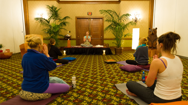 People practice Yoga as part of the Nourish Series of Cornucopia